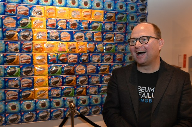 Museum of Failure curator Samuel West stands in front of questionable Oreo cookie flavors. Several failed flavors, and many other questionable inventions, can be seen at the shrine to some of the biggest flops by some of the world's best-known companies. (Photo by John McCoy, Los Angeles Daily News/SCNG)