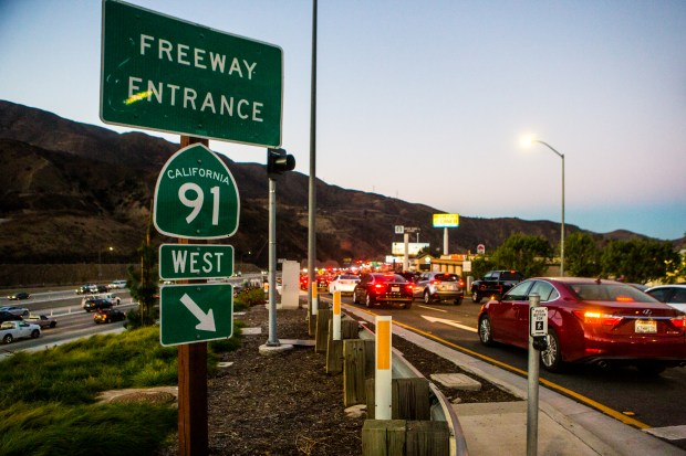 Morning commuters use the on-ramp to the westbound 91 Freeway from Green River Road in Corona on Wednesday, Dec. 6.Photo by Watchara Phomicinda, The Press-Enterprise/SCNG