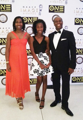 Anthony Sparks is seen at the 2017 NAACP Image Awards with his wife, Anita Dashiell-Sparks, and his daughter, Olivia. (Photo courtesy of Cal State Fullerton)