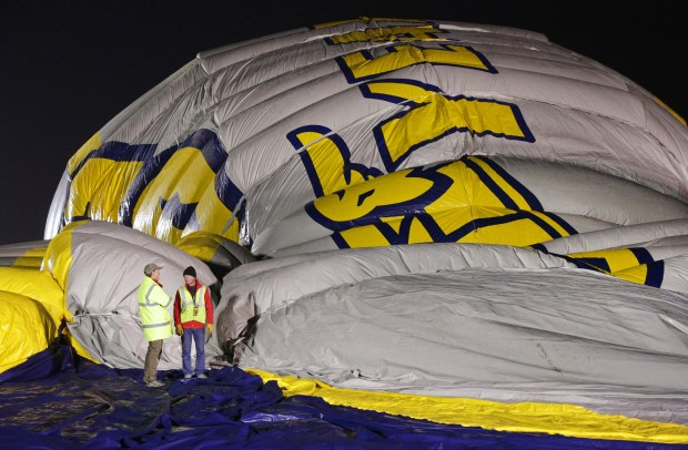 The Goodyear Tire & Rubber Company inflated a 337-foot-long hangar at its Carson blimp base along the I-405 freeway late Tuesday night and Wednesday morning. The new structure will serve as the home of Goodyear's newest blimp Wingfoot Two, which began operating in Los Angeles in October. Courtesy Goodyear