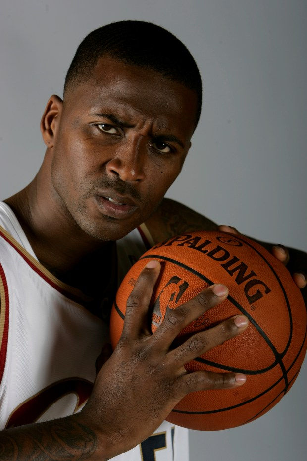 NBA player Lorenzen Wright is seen in a Sept. 29, 2008 photo while he was with the Cleveland Cavaliers. His ex-wife has been charged with first-degree murder in connection with his death more than seven years ago. Police in Riverside County, California, arrested Sherra Wright on Friday night on a fugitive from justice warrant. (AP Photo/Mark Duncan, File)