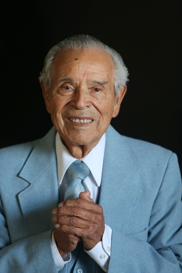 Eleizer Benavides was born in San Diego to Mexican immigrant parents. He has been a minister all his life and although he retired in 1994, he continues to work today at the age of 90 as a pastor of the Redlands Spanish SDA Church. He is what you would consider a Blue Zone person.(Stan Lim, The Press-Enterprise/SCNG)
