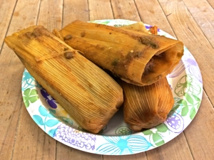 The green tamales Sandra's Tamales is nicely spiced and can be ordered for the holidays. Photo courtesy Sandra's Tamales.