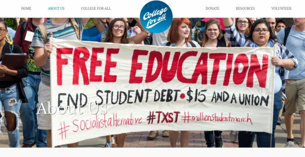A page from the College for All web site. The group is aiming to provide free tuition and living expenses for all in-state students at UC, CSU and community colleges.