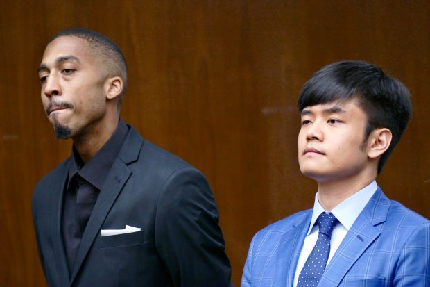 Arraignment for Darryl Hicks, left, and Tung Ming, who are charged with vehicular manslaughter for the March 7 crash that killed Jesse Esphorst Jr., the 16-year-old shortstop for South High School. Torrance Superior Court. Photo by Brad Graverson/The Daily Breeze/SCNG/05-11-17