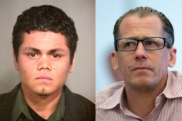 Franc Cano, left, in a 2007 booking mug and Steven Gordon during his sentencing in 2017 in the murders of Kianna Jackson, 20; Josephine Vargas, 34; Martha Anaya, 28; and Jarrae Estepp, 21, in Santa Ana. (Photos Courtesy Garden Grove Police and Register File)