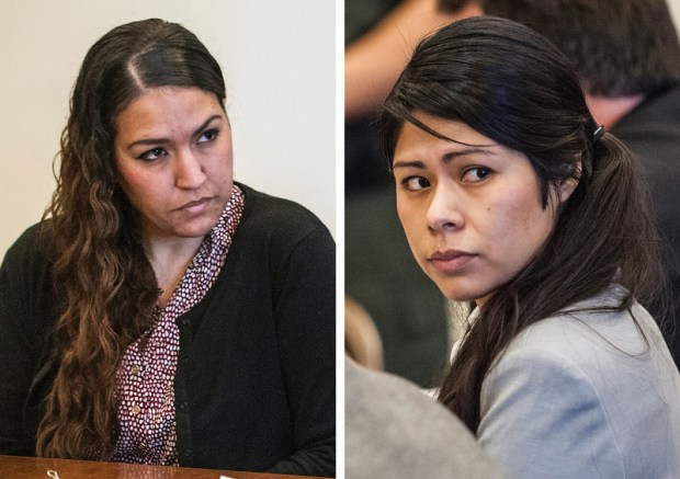 Candace Marie Brito, left, and Vanesa Tapia Zavala, right, both of Santa Ana, were sentenced to six years in prison in superior court in Santa Ana for their role in the deadly nightclub beating in downtown Santa Ana of Annie Kim Pham during a chaotic brawl outside a nightclub in January. (Staff File)