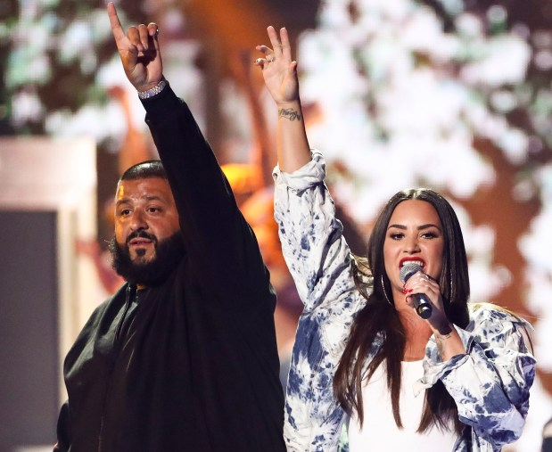 Demi Lovato and DJ Khaled have teamed up for a tour in 2018 that stops by Viejas Arena at Aztech Bowl in San Diego on Monday, Feb. 26 and the Forum in Inglewood on Friday, March 2. (Photo by John Salangsang, Associated Press)