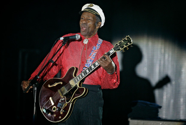 "In this Saturday, March 28, 2009 file photo, American guitarist, singer and songwriter Chuck Berry performs during the ""Rose Ball"" in Monaco. Berry died at age 90. (AP Photo/Lionel Cironneau)"