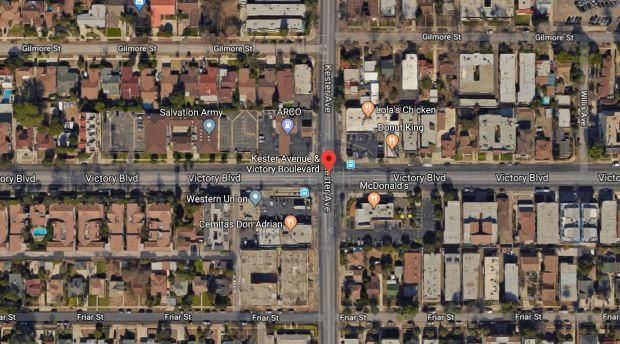 A 26-year-old man was wounded by gunfire early Saturday, Dec. 16, 2017, near Victory Boulevard and Kester Avenue, just south of Van Nuys High School. (Google Maps)