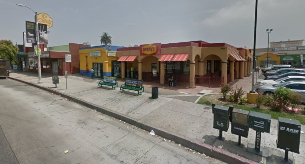 The coroner's office identified the two men killed early Friday, Dec. 15, 2017, at the bus bench in front of this Denny's on Van Nuys Boulevard and Chase Street in Panorama City. (Google Street View)