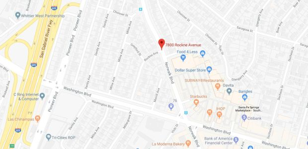 A motorist was killed late Tuesday, Dec. 19, 2017, in a single-vehicle crash on the 7800 block of Rockne Avenue in Santa Fe Springs. (Google Maps)