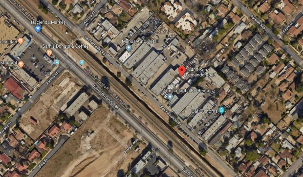 Police are investigating a fire early Monday, Dec. 25, 2017, at an auto dealership on the 12400 block of San Fernando Road in Sylmar as a possible arson. Click for a larger map. (Google Maps)