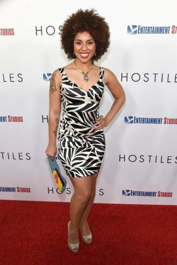 "Joy Villa, who filed a sex assault complaint against former Trump campaign manager Corey Lewandowski, is seen at the premiere of ""Hostiles"" at the Samuel Goldwyn Theater on Thursday, Dec. 14, 2017, in Beverly Hills. (Photo by Chris Pizzello/Invision/AP)"