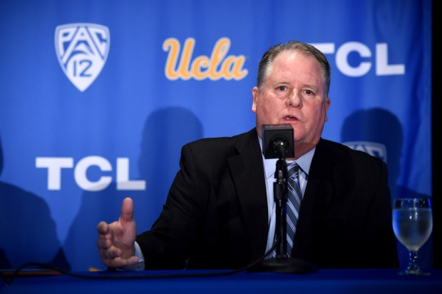 New UCLA head football coach Chip Kelly faces the media at Pauley Pavilion on Nov. 27. (Photo by Hans Gutknecht,/SCNG)