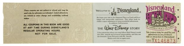 (Disneyland, 1981) A complimentary main gate admission ticket book for Disneyland. This ticket book was created in 1981 and is complete with the admission ticket still attached. Description and photo courtesy of Van Eaton Galleries, Sherman Oaks, CA