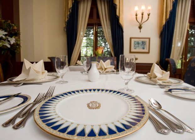 A table setting in Disneyland's pricey private Club 33, as shown in 2012 before a recent remodel. Photo by Joshua Sudock, the Orange County Register.