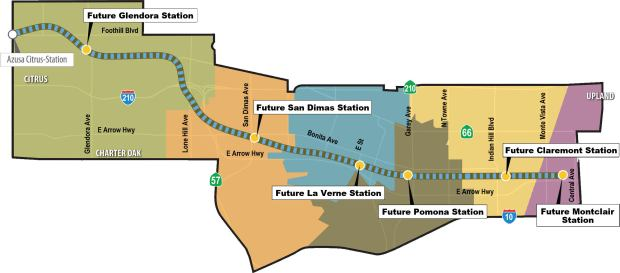 This map shows the new stations scheduled to be built as part of the extension of Metro's Gold Line. Courtesy of the Foothill Gold Line Construction Authority