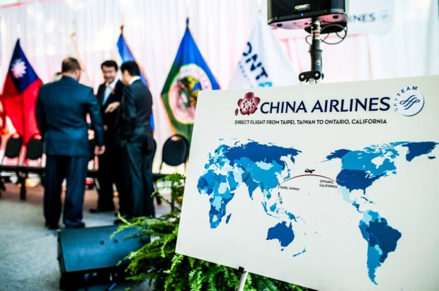 China Airlines representatives announce that the airline will launch nonstop service between Taiwan Taoyuan International Airport and Ontario International Airport in Ontario on Friday, Sept. 29, 2017. Terminal 2 will begin operations an Inland hub by Spring 2018. (Photo by Watchara Phomicinda, The Press-Enterprise/SCNG)