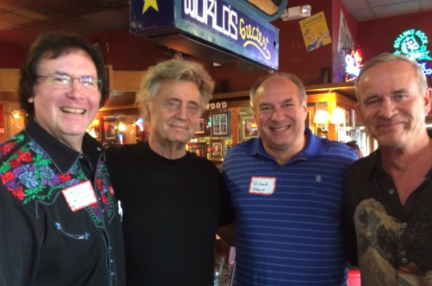 A semi-annual gathering of radio personalities included KHJ DJ and board engineer/production director Douglas Brown, personality Shadoe Stevens, writer Richard Wagoner and KHJ and Ten-Q DJ Machine Gun Kelly. (Courtesy photo)