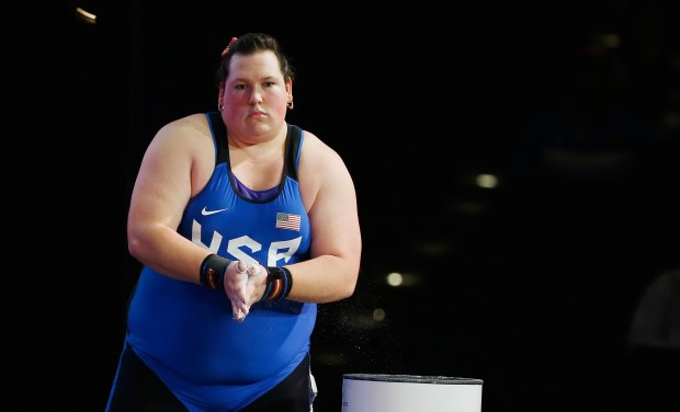 Sarah Robles, a San Jacinto High graduate, is seen at the 2015 International Weightlifting Federation World Championships in 2015 in Houston.File Photo by Scott Halleran/Getty Images