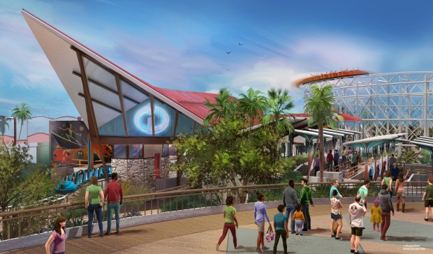 Artist Concept of the entrance to the new Incredicoaster at Disney California Adventure. Courtesy of the Walt Disney Co. 2017.