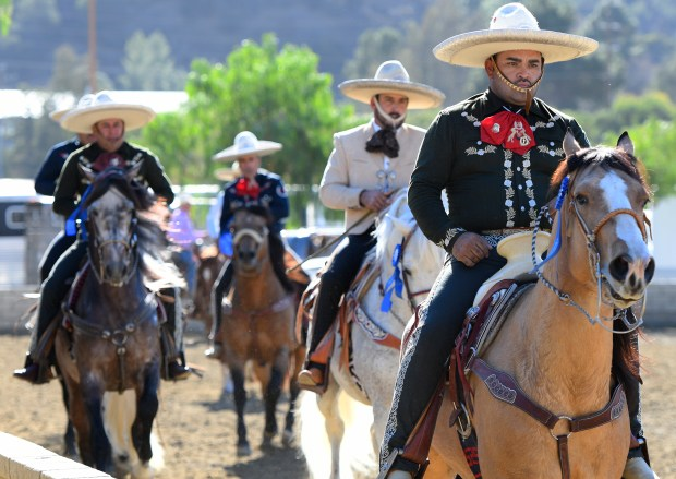 Riders from Hermanos Banuelos Charro Team ride at Equestfest, held at the Los Angeles Equestrian Center. The event showcased many of the equestrian units that will participate in the Rose Parade on New Year's Day. Burbank, CA 12/29/2017 (Photo by John McCoy, Los Angeles Daily News/SCNG)