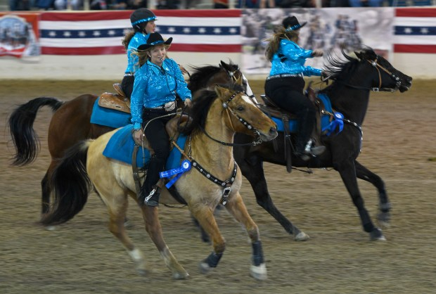 "Members of the ""Mane Attraction Equestrian Drill Team"" ride in Equestfest, held at the Los Angeles Equestrian Center. The event showcased many of the equestrian units that will participate in the Rose Parade on New Year's Day. Burbank, CA 12/29/2017 (Photo by John McCoy, Los Angeles Daily News/SCNG)"