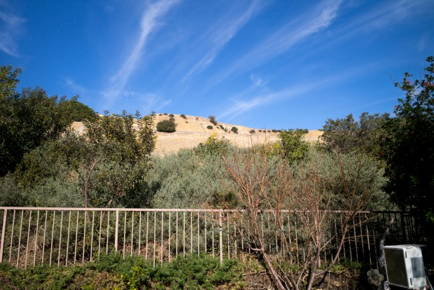 The Aliso Caynon gas storage facility sits just beyond the Changs backyard in Porter Ranch. The Chang's were displaced by the gas leak and Susan Gorman-Chang has become Vice President of the Porter Ranch Neighborhood Council out of concern for her neighborhood. (Photo by David Crane/Los Angeles Daily News-SCNG)