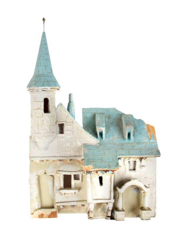 This hand-painted model of Disneyland's Sleeping Beauty Castle, from 1954, preceded construction of the real thing. Photos and description courtesy of Van Eaton Galleries, Sherman Oaks, CA.