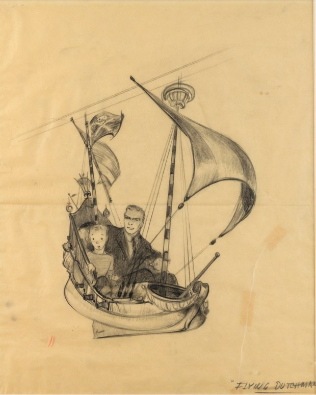 Lot 574 Peter Pan Ride Vehicle Concept Drawing