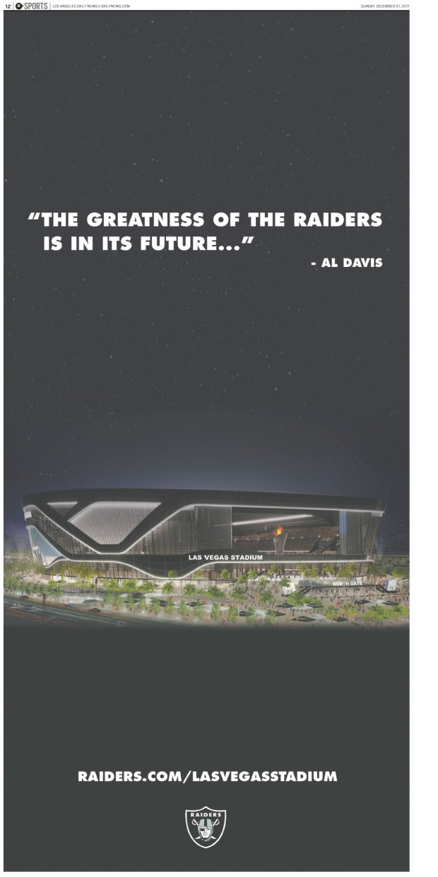Full page Raiders ad in Sunday Southern California News Group papers.