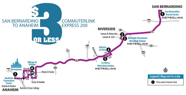 Route map for the Route 200 Riverside Transit buses that will run to Disneyland via San Bernardino and RIverside.