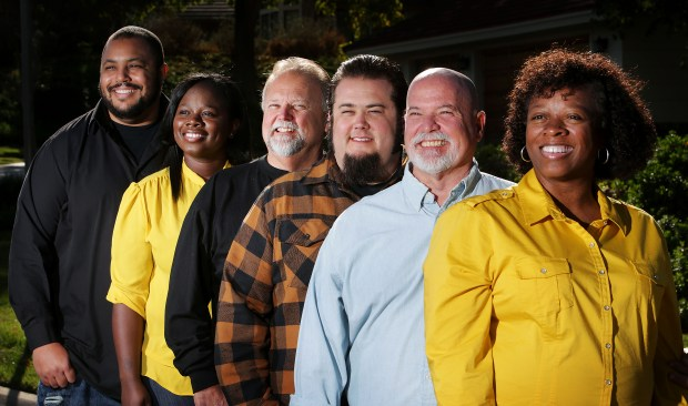 From left, Metrolink engineers Akili Wells,34, Danyell Jones,30, of Moreno Valley, Dennis Brown,62, Richard Brown,34, Frank Brown,61, and Veronica Brown,48, all of Riverside are all members of the same family, Sunday in Riverside, CA. December 17, 2017. (TERRY PIERSON,THE PRESS-ENTERPRISE/SCNG)