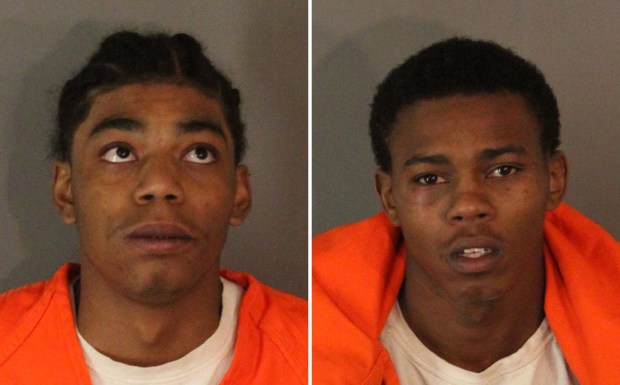 Terrion Arnold, 18, left, and DeAnthony Joseph Harris, 18, both of Eastvale, were arrested Tuesday, Dec. 5, 2017, on suspicion of felony residential burglary. (Photos courtesy of Riverside County Sheriff's Department)