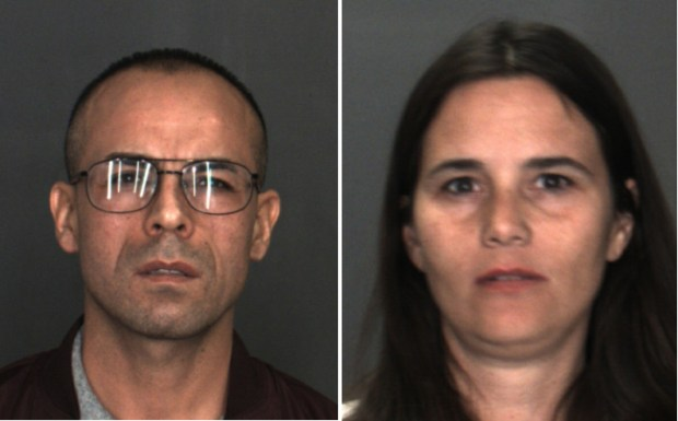 Victor Martinez, 39, left, and Isis Munoz, 41, both of Tarzana, were arrested in Rancho Cucamonga Saturday, Dec., 9, on suspicion of burglary in the theft of eyeglass lenses from a LensCrafters business. (Photos courtesy of San Bernardino County Sheriff's Department)
