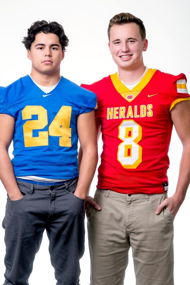 Whittier Daily News' Co-Offensive Football Player of the Year Angel Favela of La Mirada High School, left, and Quinn Commans of Whittier Christian High School Dec. 12, 2017. (Photo by Leo Jarzomb, SGV Tribune/ SCNG)
