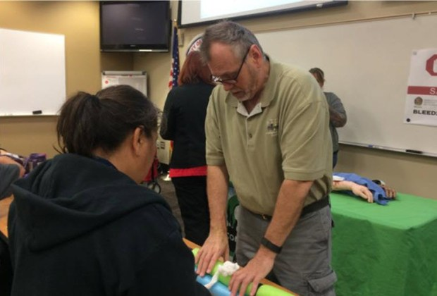 Riverside Community Hospital officials train members of the Riverside Community Emergency Response Team to stop bleeding during a November session.Photo courtesy of Riverside Community Hospital
