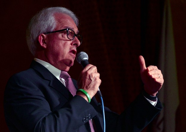 Candidate John Cox answers a question during the GOP Gubernatorial Debate hosted by the Redlands Tea Party Patriots at Mill Creek Cattle Co. in Mentone, CA., Thursday, January 4, 2018. (Staff photo by Jennifer Cappuccio Maher/The Facts/SCNG)