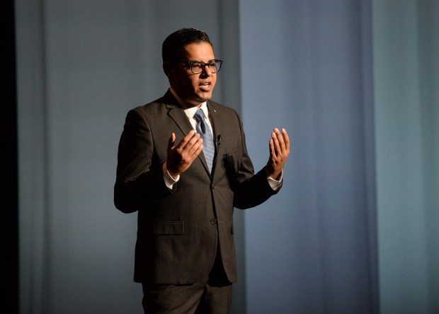 Long Beach Mayor Robert Garcia delivers his fourth State of the City address, at the Terrace Theater in Long Beach Calif., Tuesday, January 8, 2018. ( Photo by Stephen Carr, Daily Breeze / SCNG )