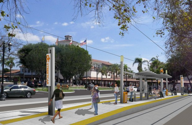 This rendering shows the a future OC Streetcar Stop/Station (Courtesy of OCTA)