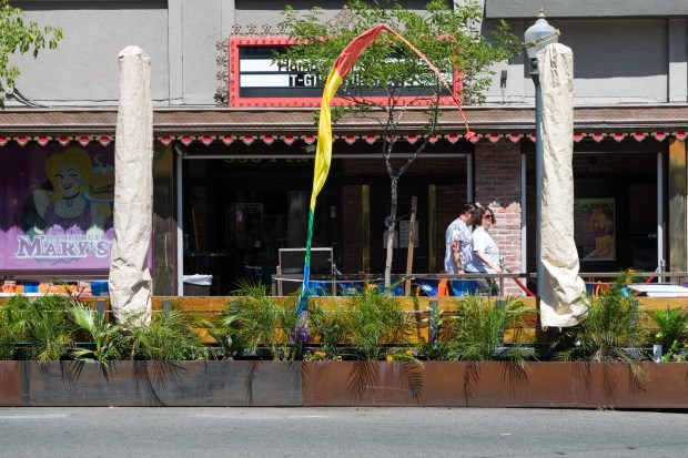 San Pedro's business district will launch a pilot program this year to explore adding outside dining that uses up some curbside street space. Similar platforms have been installed in central and downtown Long Beach. Credit: City Fabrick