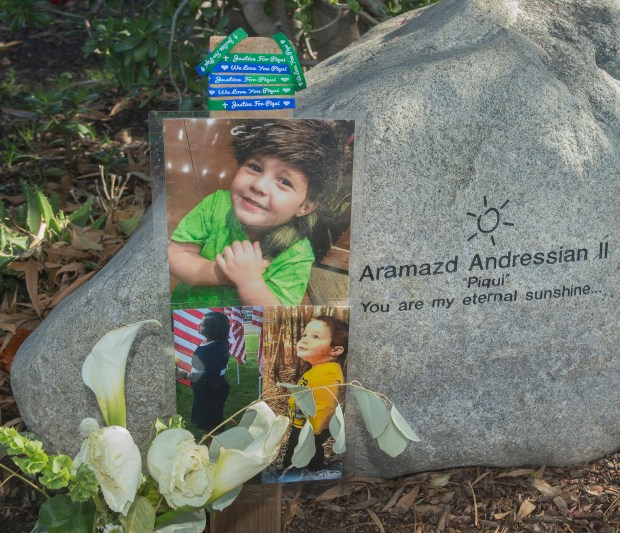 South Pasadena honored Aramazd Andressian Jr., a slain 5-year old boy  with memorial bench at Garfield Park in South Pasadena Monday, January 22, 2018.The bench was located on a walkway that leads to the park's Children's Memorial and Healing Garden located in the north section near Grevelia Street and Stratford Avenue. Ana Esteves, mother  OF Aramazd Andressian Jr, is working to gather support passage of H. Con. Res. 72, legislation H.Con.Res.72 - Expressing the sense of Congress that child safety is the first priority of custody and visitation adjudications, and that State courts should improve adjudications of custody where family violence is alleged.  There have been at least 623 children murdered since 2008.(Photo by Walt Mancini/Pasadena Star-News/SCNG)