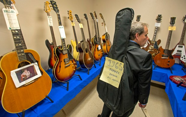 Mark Rieser came down from his home in San Jose a day attend the SoCal World Guitar Show at the OC Fair and Event Center in Costa Mesa back in 2017. (MICHAEL GOULDING, ORANGE COUNTY REGISTER)