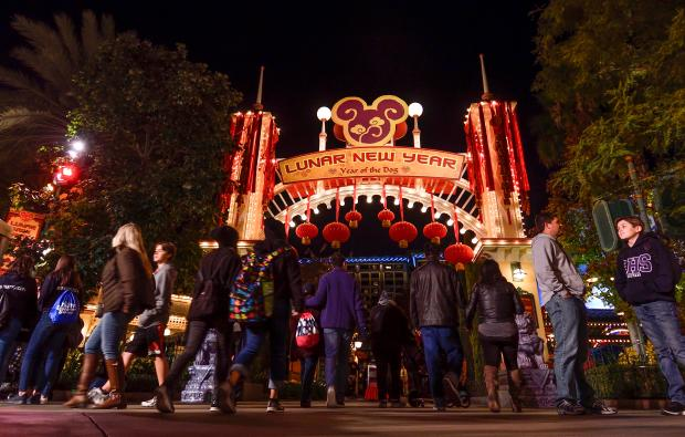 New signage leads the way towards asian food booths on the first day of Disney's Lunar New Year celebration at California Adventure in Anaheim on Friday, Jan 26, 2018. (Photo by Jeff Gritchen, Orange County Register/SCNG)