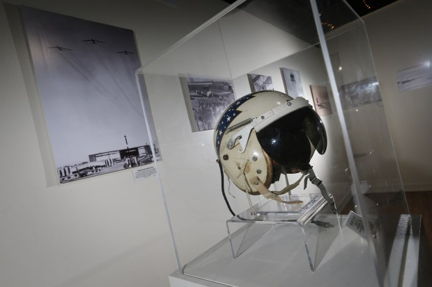 A flight helmet worn by Lt. Gen. Archie J. Old Jr., commander of the 15th Air Force from 1955-1965, on display at March Field Air Museum in Riverside on Friday, Jan. 19, 2018. (Stan Lim, The Press-Enterprise/SCNG)