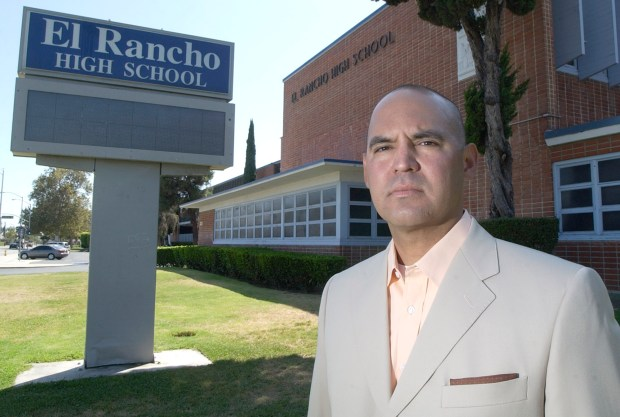 Gregory Salcido stands in front of El Rancho High School in Pico Rivera. (SGVN/Staff Photo by Keith Durflinger/SWCITY)