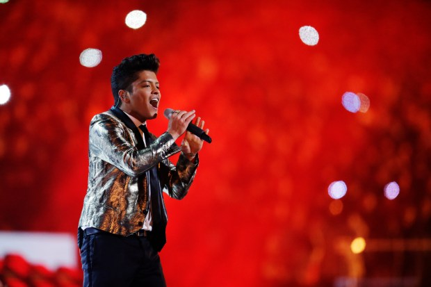 Bruno Mars performs during the halftime show of the NFL Super Bowl XLVIII football game between the Seattle Seahawks and the Denver Broncos Sunday, Feb. 2, 2014, in East Rutherford, N.J. (Photo by Julio Cortez, Associated Press)