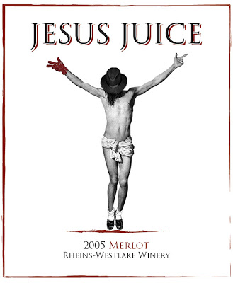 Jesus Juice: Apparently, a severe backlash kept this wine label from ever reaching the market. The Michael Jackson touch is particularly tasteless – and mystifying. (Photo courtesy of Rheins-Weslake)