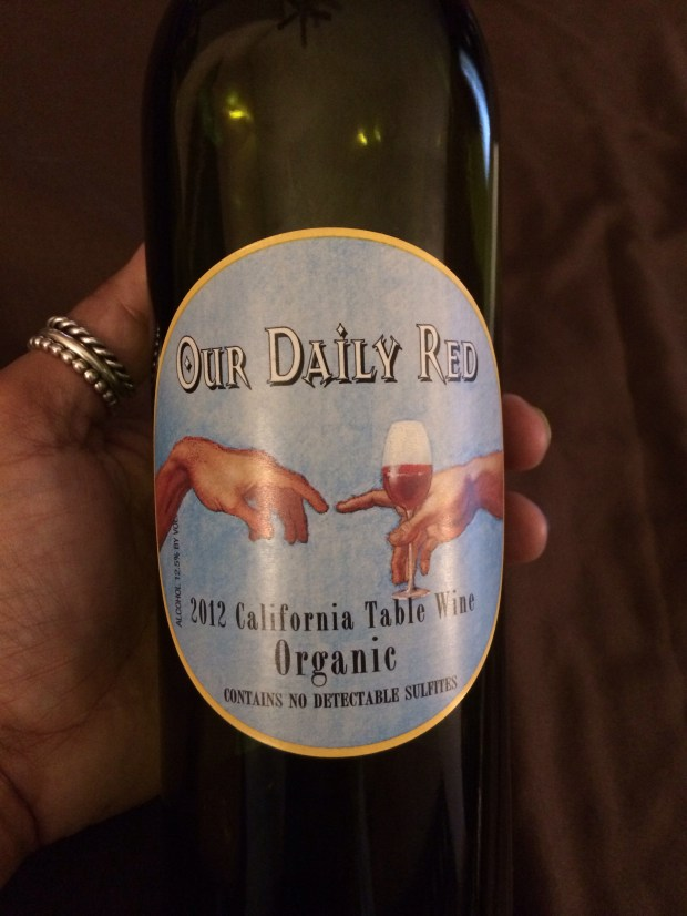 Our Daily Red: I'm pretty sure wine wasn't involved in the Creation of Adam. Then again, Michelangelo's painting is waaaay up there on the Sistine Chapel's ceiling. (Photo courtesy of Our Daily Red)